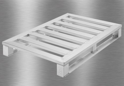 Aluminium pallet with two skids open top deck